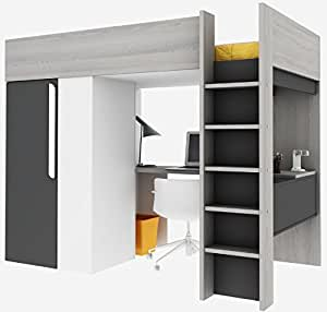 trasman 1172 hochbett mit schrank und schreibtisch liegefl che 200x90 cm. Black Bedroom Furniture Sets. Home Design Ideas