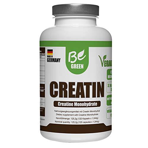 BeGreen Creatin 120 Kapseln   Vegan   Hochdosiert: 3520 mg Creatin Monohydrat pro Portion   Hergestellt in Deutschland
