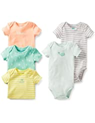 Carter's Baby Girls 5 Pack Short Sleeve Bodysuit Set (18 Months, Green/Multi) Color: Green/Multi Size: 18 Months (Baby/Babe/Infant - Little ones)