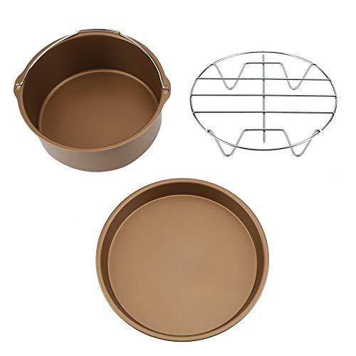 Friteuse-Zubehör - 8-Zoll-3-in-1-Multifunktions-Fritteusen-Zubehör-Set Brot Regal Kuchenfass Pizza Pan (Golden, Schwarz) (Farbe : Golden) Brot Pan Set
