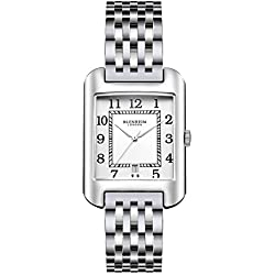Blenheim London® B3180 Curve Watch White Arabic Numeral with Sliver Hands with Stainless Steel Strap