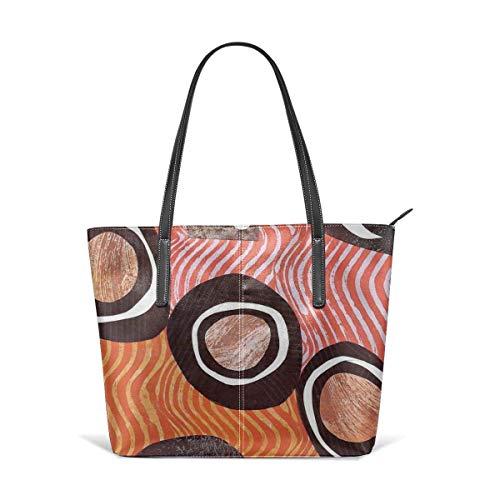 xcvgcxcbaoabo Mode Handtaschen Einkaufstasche Top Griff Umhängetaschen Funky Retro Orange Print Leather Tote Large Purse Shoulder Bag Portable Storage HandBags Convenient Shoppers Tote