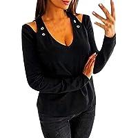 Luckycat Mujeres Casual Escote en V Hombro Slim Fit Sólido Hueco Casual Camisetas