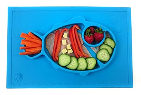 Smiley Fish Placemat by Hexnub, One Piece Silicone Suction Placemat + Plate – for Kids, Toddlers and Babies. (Blue)
