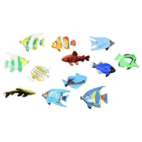 STOBOK 12 stücke Ozean Meer Tier Mini Kunststoff Tier Spielzeug Tropische Fische Abbildung realistische Spielzeug pädagogisches Spielzeug Bad Spielzeug für Kinder