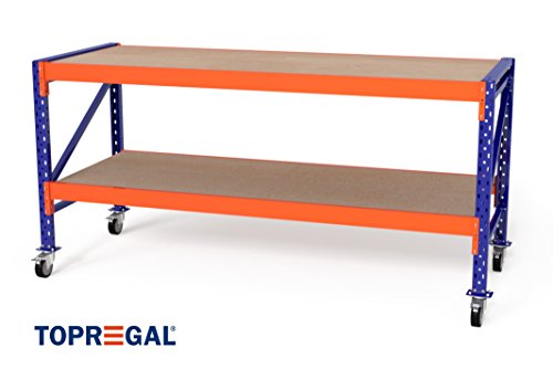 Werkbank Packtisch Arbeitstisch fahrbar von TOPREGAL, B230xH89-129xT80cm, Multiplexplatte, keine Module