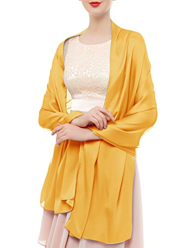 bridesmay Damen Elegant Seidenschal 180 * 90cm Seide Halstuch Stola Schal für Kleider in 20 Farben Gold