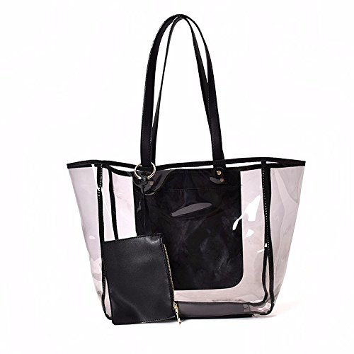 Borsa a tracolla impermeabile trasparente moda mare,marrone Black