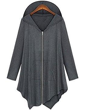 KaloryWee Abrigo de Manga Larga para Mujer con Cremallera Suelta Cremallera de Mujer Outwear - Abrigo para Mujer