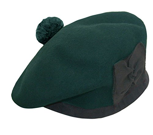 100% Pure Wool Balmoral Bonnet Hat Scottish Piper Green