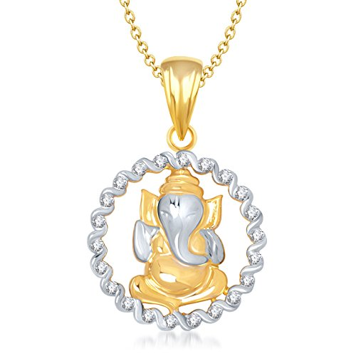 Ganesha Ganapati Pendant With Chain In God Pendants & Lockets For Men Women In American Diamond Cz Jewellery Gifts Gp138