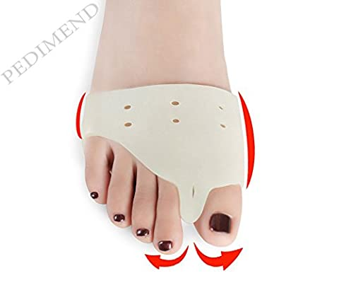 Pedimend Medical Silica Gel FOREFOOT PAD & TOE SEPRATOR (One Pair) with Holes - Ball of Foot Massage - Therapeutic Design - ball of foot pad gel Cushion - Support For Overlapping / Crooked / Hammer Toes / Corns / Calluses / Orthotic Cushion - Align / Separates & Cushions Toes / Feet - Bunion Pain Relief