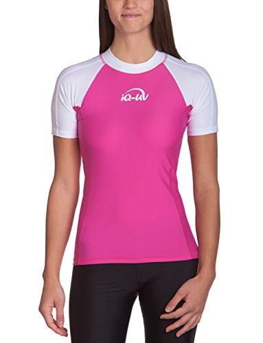 iQ-UV Damen 300 Slim Fit UV T-Shirt, weiß-rosa, M (40) - Weiß-rosa T-shirt