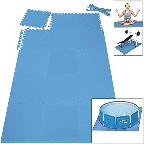 Deuba 16x Bodenschutzmatten 45x45cm - 3,24m² Fitnessmatte Yogamatte Puzzlematte | Stecksystem | hohe Flexibilität | rutschfest | geräuschdämmend | wärmeisolierend | schneller Aufbau | Eva Schaumstoff