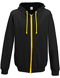 Hooded contrast zip Full Zip Hoody Hooded Top Hoodie Mens and ladies Size S to XX-Large