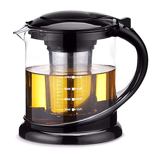 HshDUti 1000 / 1800ml Glas Hitzebeständige Teekanne Teebereiter Filtersieb Infuser Cup Black 1800ml - - 3-cup Ersatz-glas