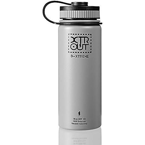 Botella de agua, Thermo de metal térmico en acero inoxidable libre de BPA. Tamaño cómodo de 500 ml ideal para deporte. Mantiene las bebidas calientes hasta 12 horas y frías hasta 24 horas. Acabado duradero libre de condensación, con boca ancha que permite el uso de filtros estándar. Excelente para llevar el café de la mañana o una bebida fría (Gris, 500