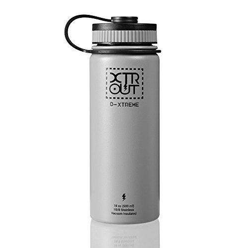 Bottiglia per acqua, bottiglia termica di acciaio inossidabile senza BPA, comoda dimensione da 500 ml ideale per lo sport, mantiene le bevande calde per 12 ore e quelle fredde per 24 ore, rivestimento durevole senza condensa, con bocca larga che consente l'utilizzo di filtri standard. Ottima per prendere il caffè del mattino o una bibita fresca (500 ml, Grigio)