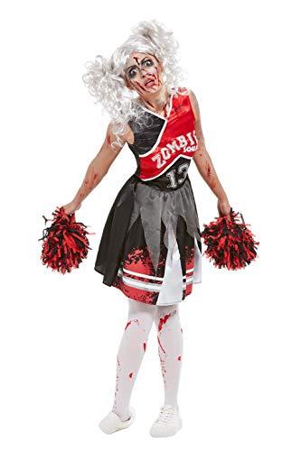 Zombie Für Ideen Ein Kostüm Cheerleader - Smiffys 51067M Cheerleader Zombie Kostüm, Damen, Rot, M - Größe 40-42