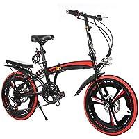 MIRC Bicicleta Plegable Niños Adultos Alto Acero Al Carbono Ciudad Suburbana Bicicleta (Rojo, 20 Pulgadas)