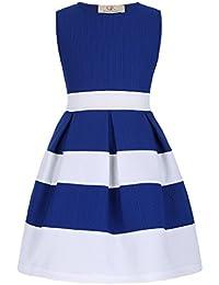 GRACE KARIN Vestido Elegante de Niñas de Verano Cuello Barco sin Mangas con Cinturón Fino 6-12 Años