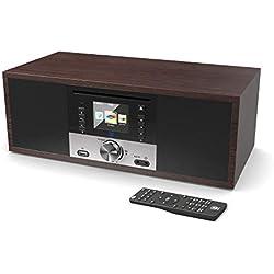 Majority King's Radio Internet Wi-FI Connexion - 30W Lecteur CD - Radio numérique Dab/Dab+ - FM Radio - Bluetooth - Télécommande - Réveil à Double Alarme - Entrées AUX & USB MP3 (Noyer)