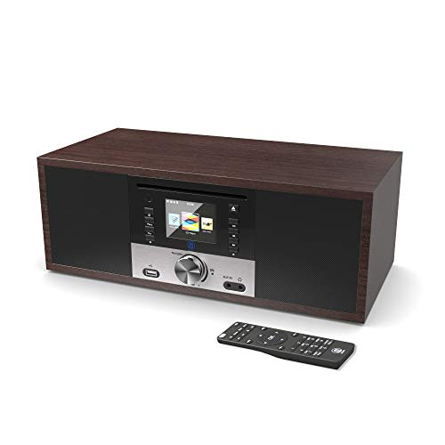 Majority King's Internetradios Wi-Fi WLAN Verbindung, DAB/DAB+/FM Digital-Radio, 30W CD-Player, Bluetooth, Fernbedienung, USB Eingang/Aufladen, Aux-in, Dual Wecker (Nussbaum) - Internet Wifi Usb