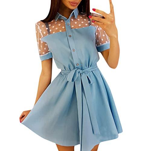 Wawer_Damen Kleid  Vintage Boho Frauen Sommer Kurzarm Patchwork Lace Minikleid, Sommerkleid Lang Partykleider mit Tutu