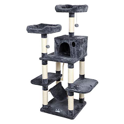 Meerveil Kratzbaum XL, Großer Kletterbaum mit Kratzsisal, Stabiler Kratzbaum Katzenbaum, Säulen mit Natürlicher Sisal Umwickelt (Grau)