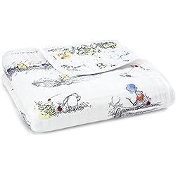 aden + anais Disney Baby couverture de rêve dream blanket, quatre épaisseurs de mousseline 100% coton, 120cm x 120cm, Winnie l'ourson