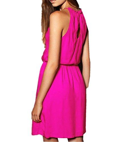 ERGEOB Damen Mercerisierter Baumwolle Strandkleid Strand-Bikini-Bluse Rock Kleid 05 rosa