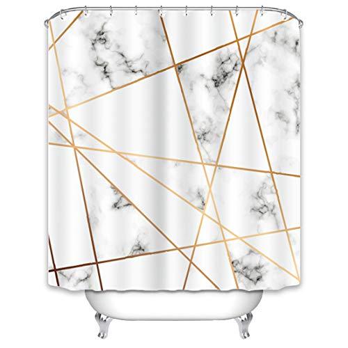 X-Labor Marmor Duschvorhang 240x200cm Wasserabweisend Stoff Anti-Schimmel inkl. 12 Duschvorhangringe Waschbar Badewannevorhang 180x200cm Muster-H -