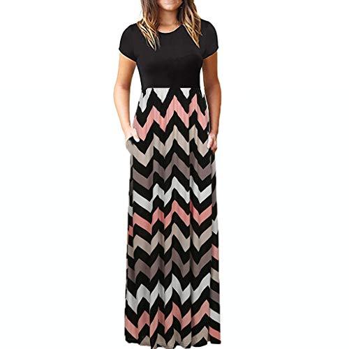 Beikoard Damen Kleider Casual Maxikleid O-Neck elastischer Bund Tunika Kleid Kurzarm Sommer Strandkleider mit Taschen (Schwarz-5, L) -