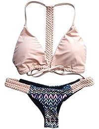 Traje de baño OXOK Push-up Sujetador de baño del traje de baño atractivo de las mujeres del traje de baño floral del bikini Set