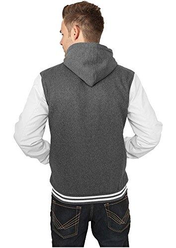 Urban Classics Herren Jacke Hooded Oldschool College Jacket grey/white