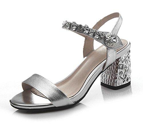 Offene Sandalen Frauen Schuhe mit Strass Wort Silver
