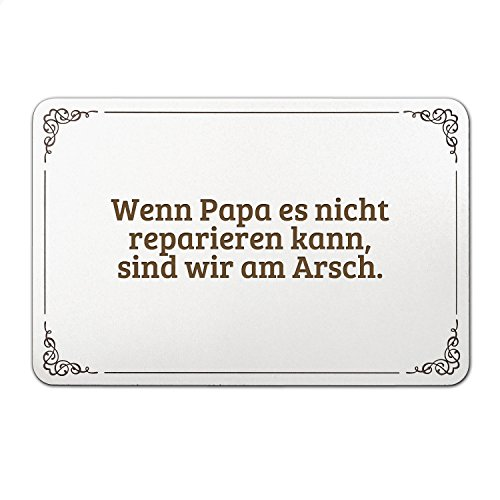 """Mr. & Mrs. Panda Türschild mit Spruch """"Wenn Papa es nicht reparieren kann, sind wir am Arsch."""" - 100% handmade aus MDF - Schild, Türschild, Wandschild, Wanddeko, Deko, Geschenk, Sign, Haustür, Kinderzimmer, Familie, gravur Papa, Vater, Vatertag, Geschenk Mann, Mann, Männer, bester Papa Spruch Sprüche Lustig Spass Geschenk Geschenkidee Zitate"""