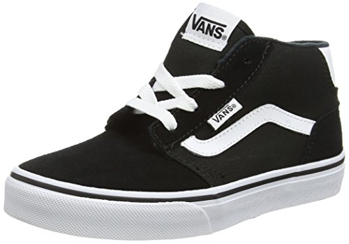 Vans Unisex-Kinder Chapman Mid High-Top Schwarz (Suede Canvas black/white)