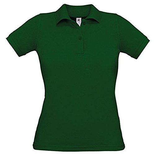 B&C Collection Damen Modern T-Shirt Gr. L, flaschengrün (Striped Knit Pique Pocket Shirt)