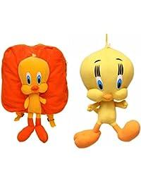 MGP Premium Orange Tweety Kids School Bag With Tweety Toy 40cm