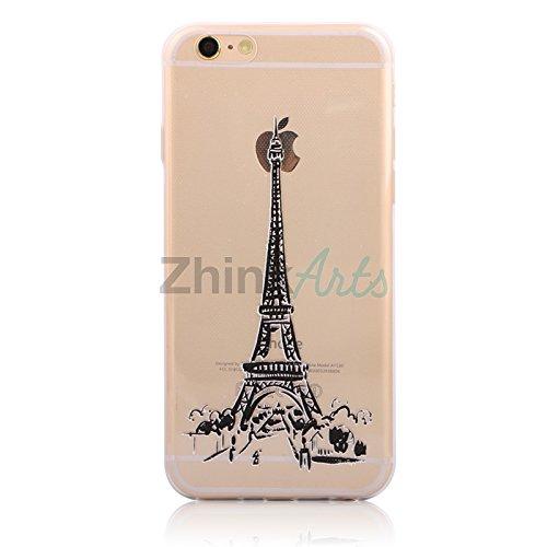 Handy Hülle mit Motiv Case Cover Silikon Schutzhülle TPU von ZhinkArts für Apple iPhone 7 Pusteblume Weiß M14 Eiffelturm M6