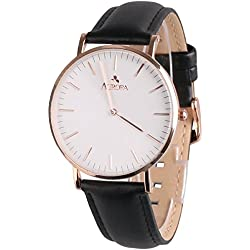 Aurora Women's Casual Business Analogue Quartz Waterproof Dress Wrist Watch with Black Band-Rose Gold