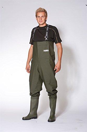 Ocean Budget - pantalones de pesca hasta el pecho - 500 g pvc - Verde oliva oscuro - verde, PVC, Talla 9,5/44