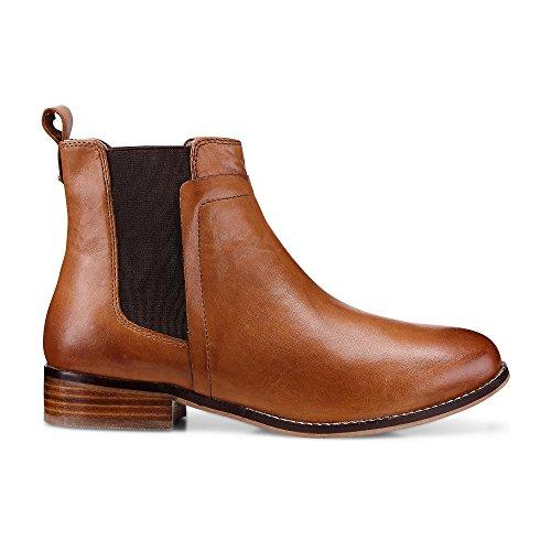Cox Damen Damen Chelsea Boots, Brauner Leder Stiefel mit rutschhemmender Gummi-Laufsohle Braun Glattleder 37 (Leder Braun Boots)