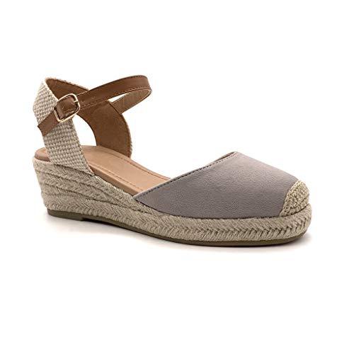 Angkorly - Scarpe Moda Sandali Espadrillas Spiaggia Comodo maneggevole Comfortable Donna Basic Basic con Paglia Tacco Zeppa 5 CM - Grigio BL252 T 40