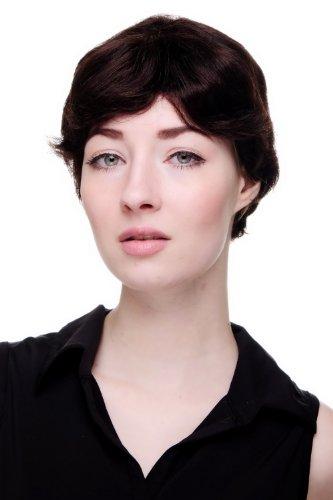 100% cheveux naturels: Courte perruque pour femme, osée et ondulée, châtain foncé 9908HH-4