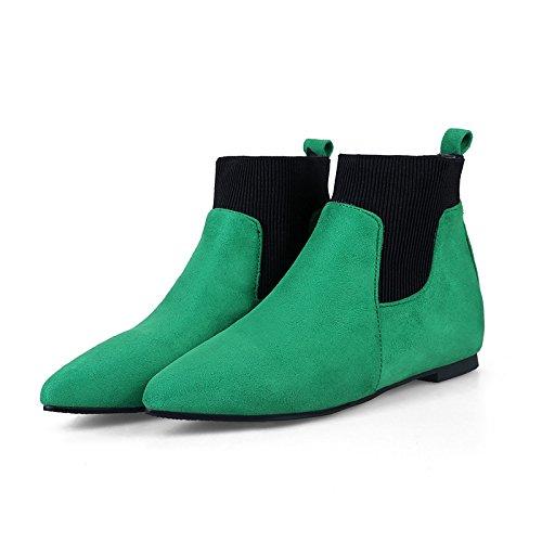Scarpe donna similpelle Autunno Inverno la moda Stivali Stivali Punta Babbucce/Stivaletti fibbia per abbigliamento casual verde grigio nero Black