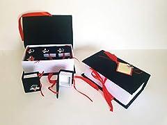 Idea Regalo - takestop® Scatola Libro con 12 Pezzi BOMBONIERA BOMBONIERE Cappello TESI SCATOLINA 24x14x8cm PORTACONFETTI Porta Confetti Laurea