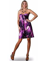 femmes Angela bandeau longueur genou été, vacances robe, Violet Galaxie