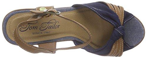 Tom TAILORTom Tailor Damenschuhe - Sandali a Punta Aperta Donna Blu (Blu navy)